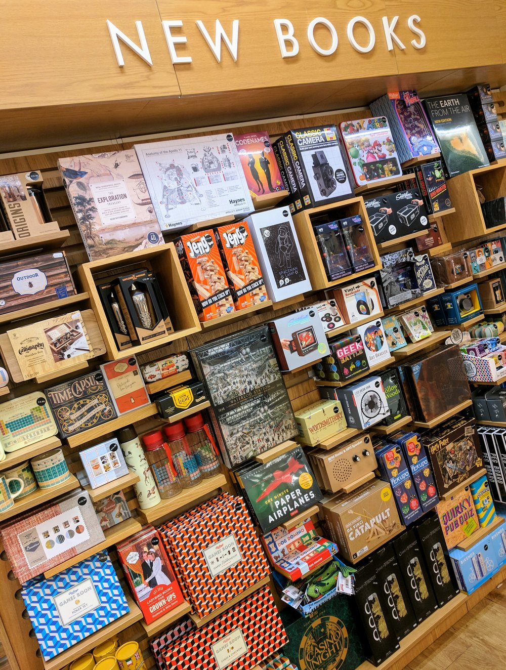 Spotted on the Waterstones' shop floor - mid 2017 - the 'New Books' section completely filled with toys, games and novelties.