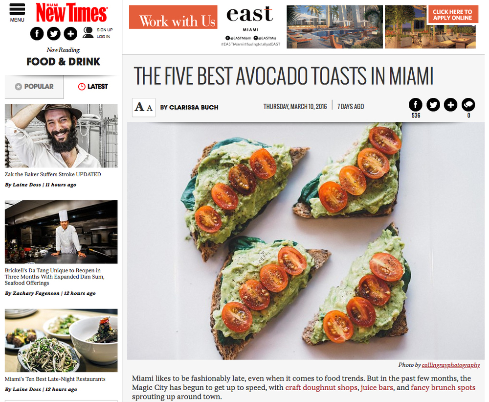"""The Five Best Avocado Toasts In Miami"" by Clarissa Buch"