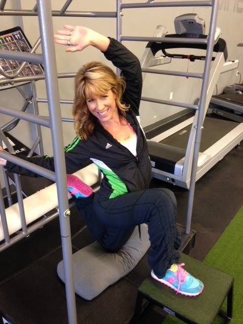 Hip flexor stretch. To do at home, hook your foot on couch behind you, kneel on a pillow and use a kitchen stool to elevate your opposite foot. You may need to leave the stool out of it at first. Drive your hip forward and shoulder/arm back.
