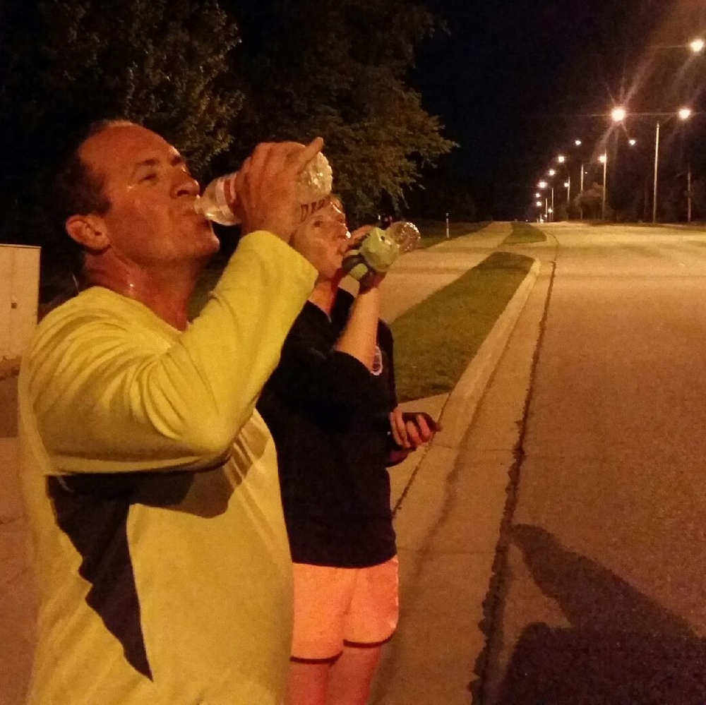 Mo and Jen taking a water break in their United Relay Across America 2016