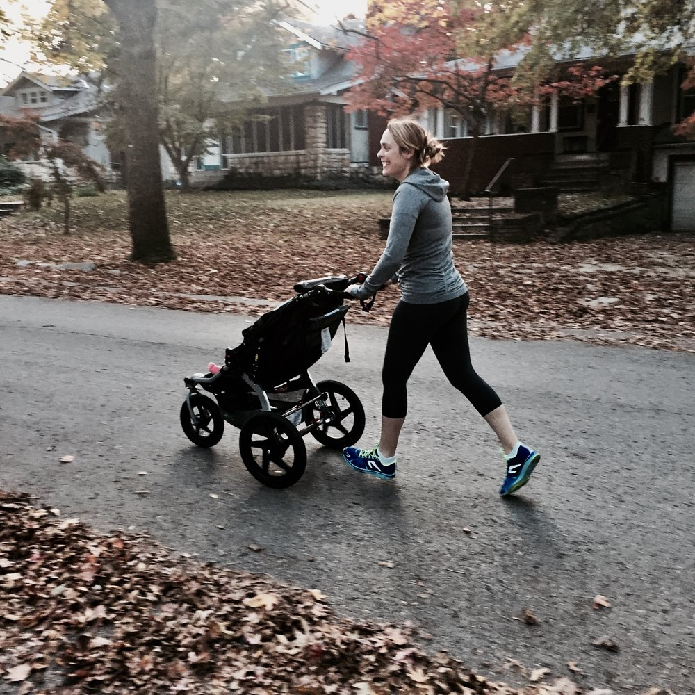 Jennifer Jogging with Baby Laurel Rose
