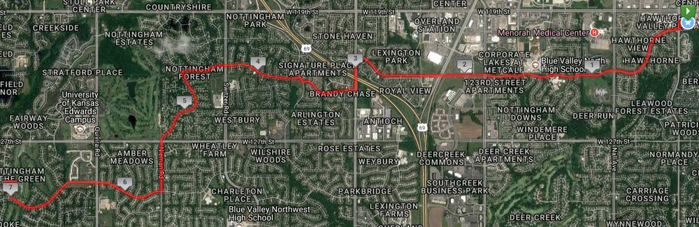 A 14 mile run starting in Leawood through South Overland Park