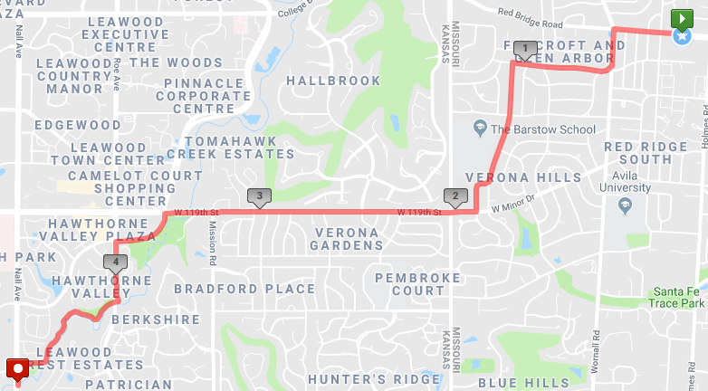 A 10 miler from the Red Bridge Shopping Center across the state line into Leawood