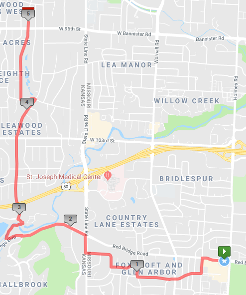 A 10 mile course from Red Bridge to north Leawood