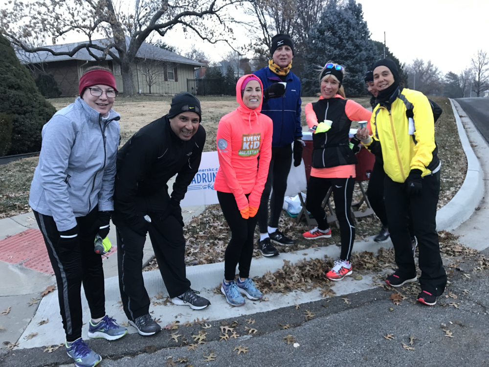 Layers and good friends are all you need for a cold morning run.