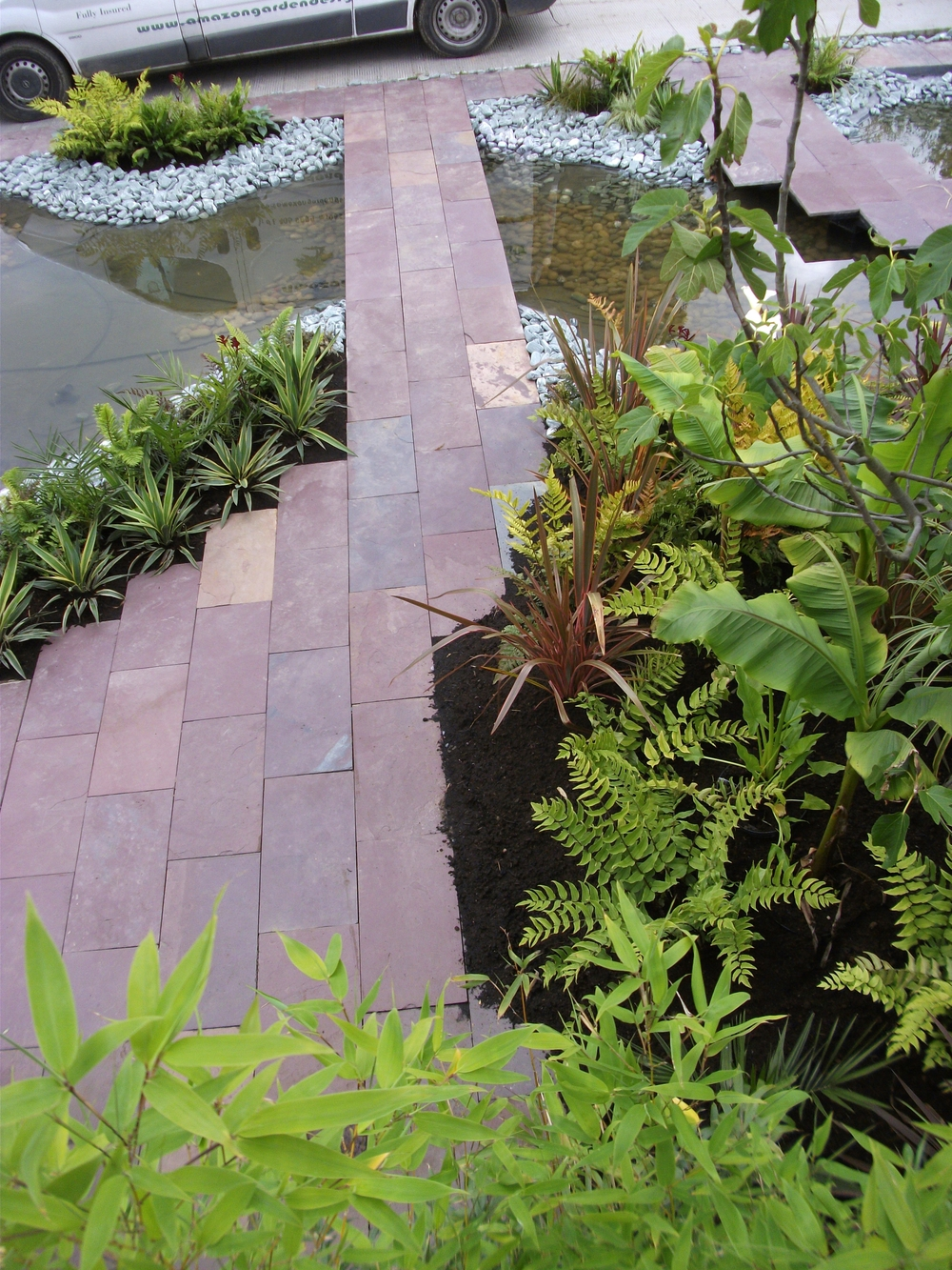 purple indian limestone paving