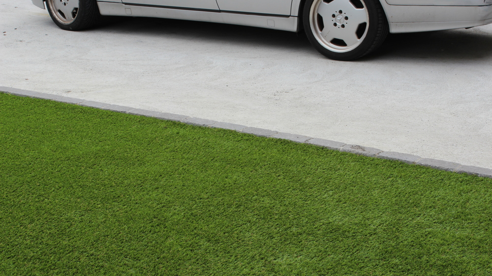 artificial grass and car