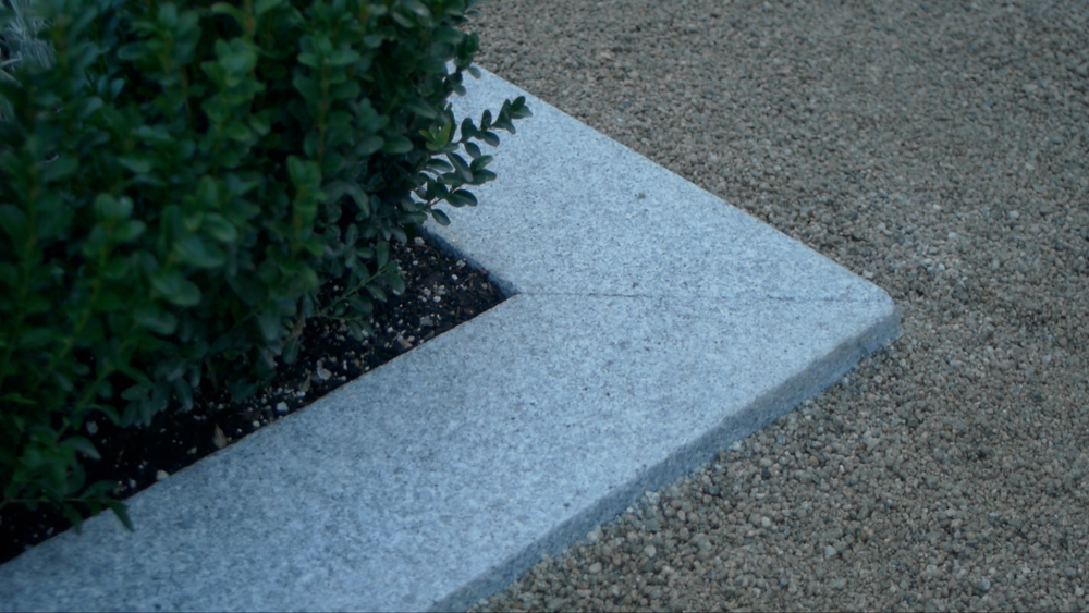 Granite pavers and Buxus