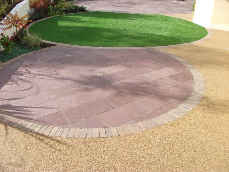 paving and artificial grass