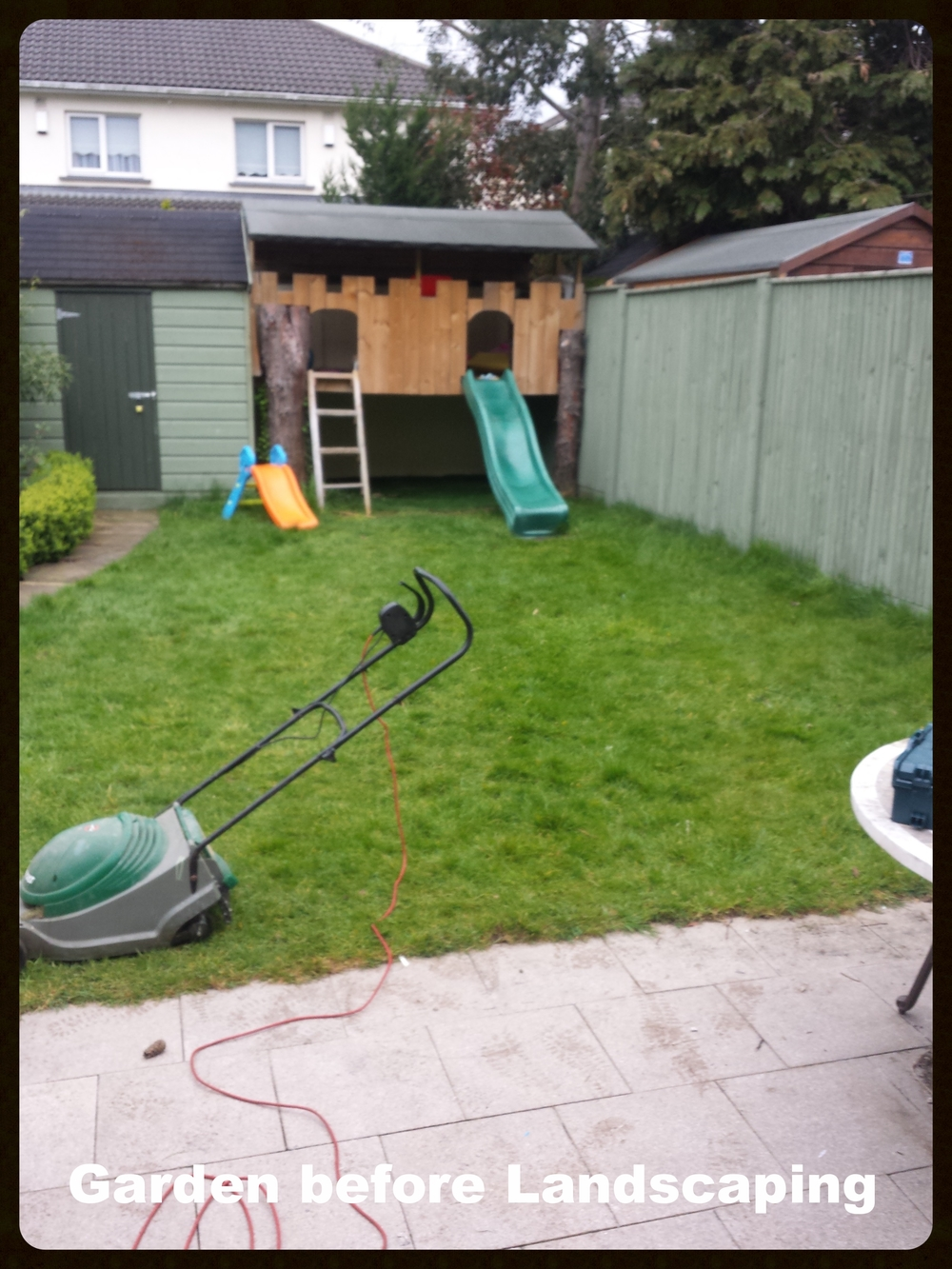 Garden before transformation with artificial grass