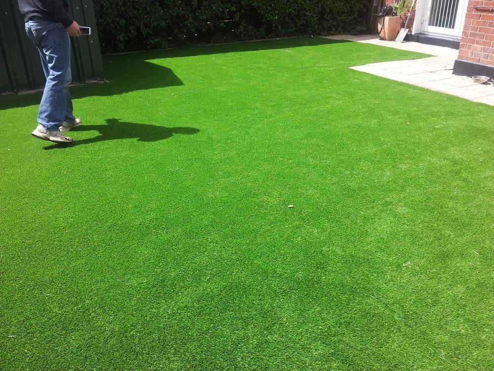 landscaper inspecting grass