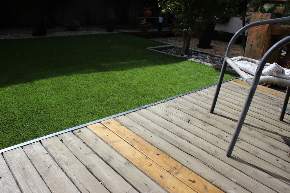 decking and artificial lawn