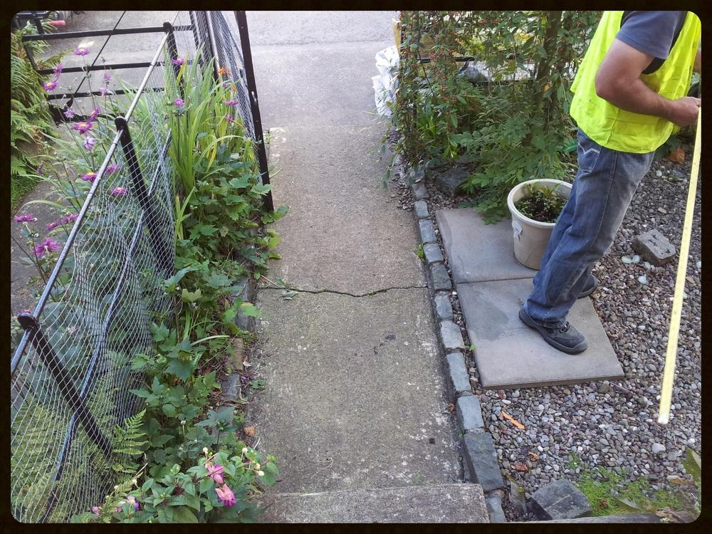 Landscaper measuring garden