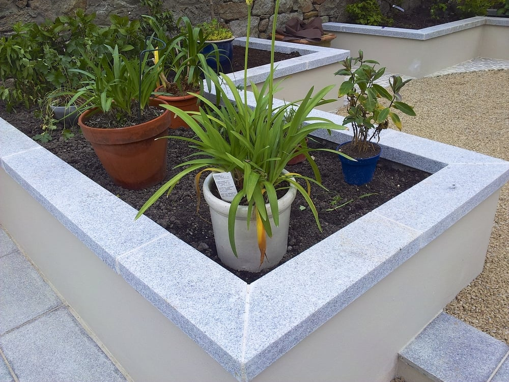 granite capped planters