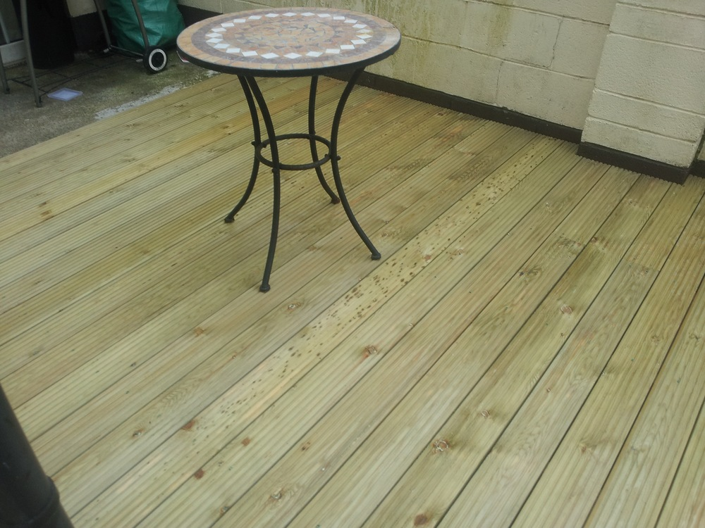 table on garden decking