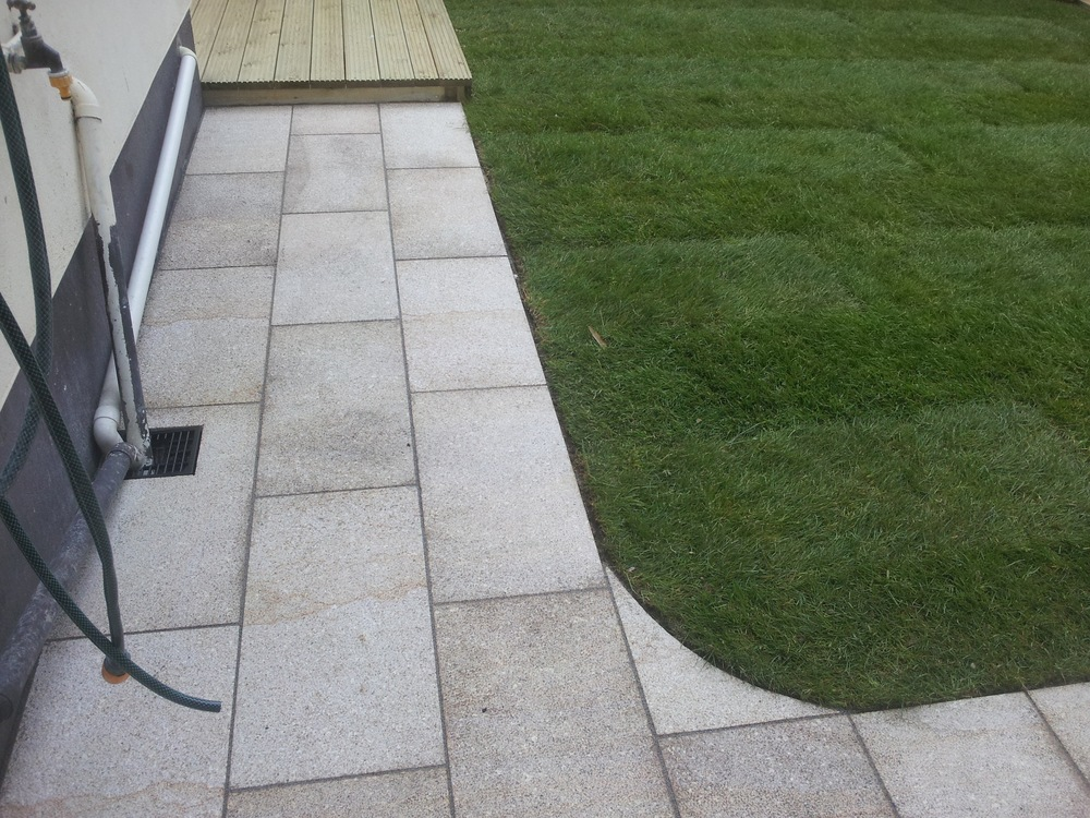 decking lawn and path
