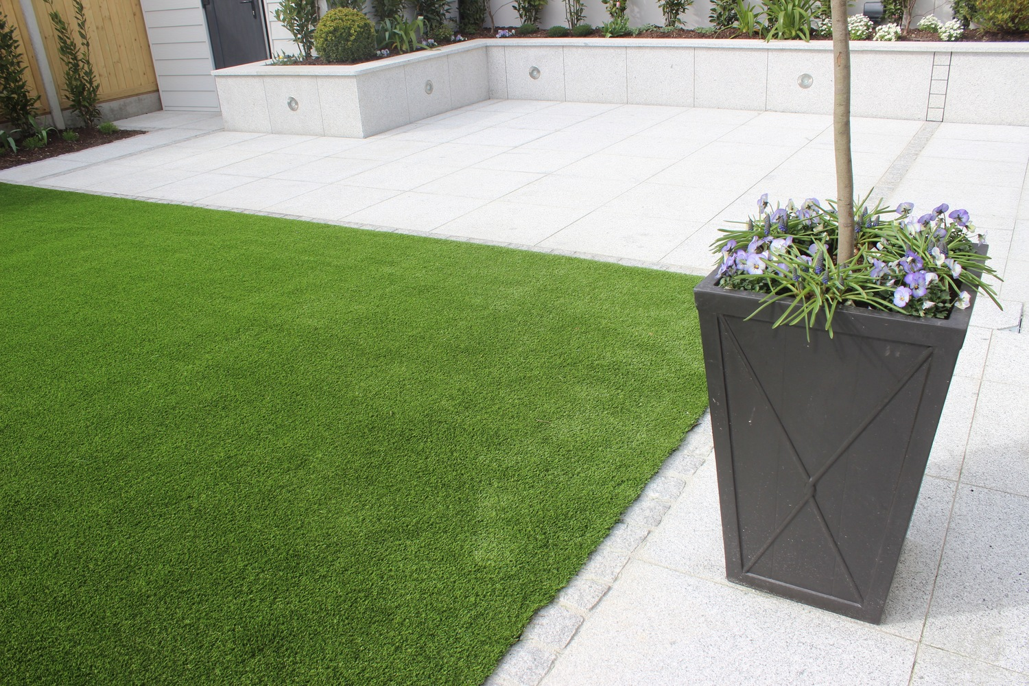 new garden design featuring artificial grass - Garden Design Kildare