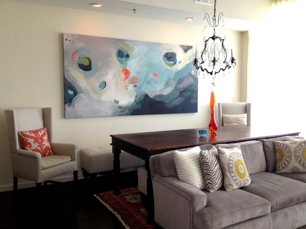 "Teal & Coral 48"" X 96"" Installed"
