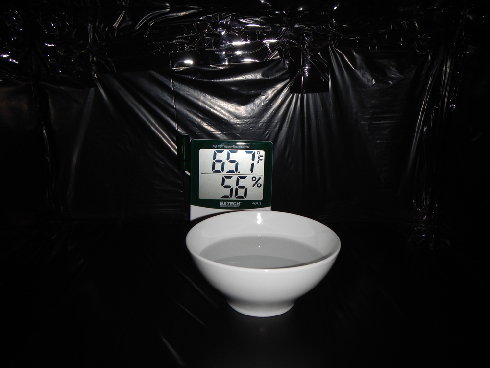 Hygrometer and water in place.