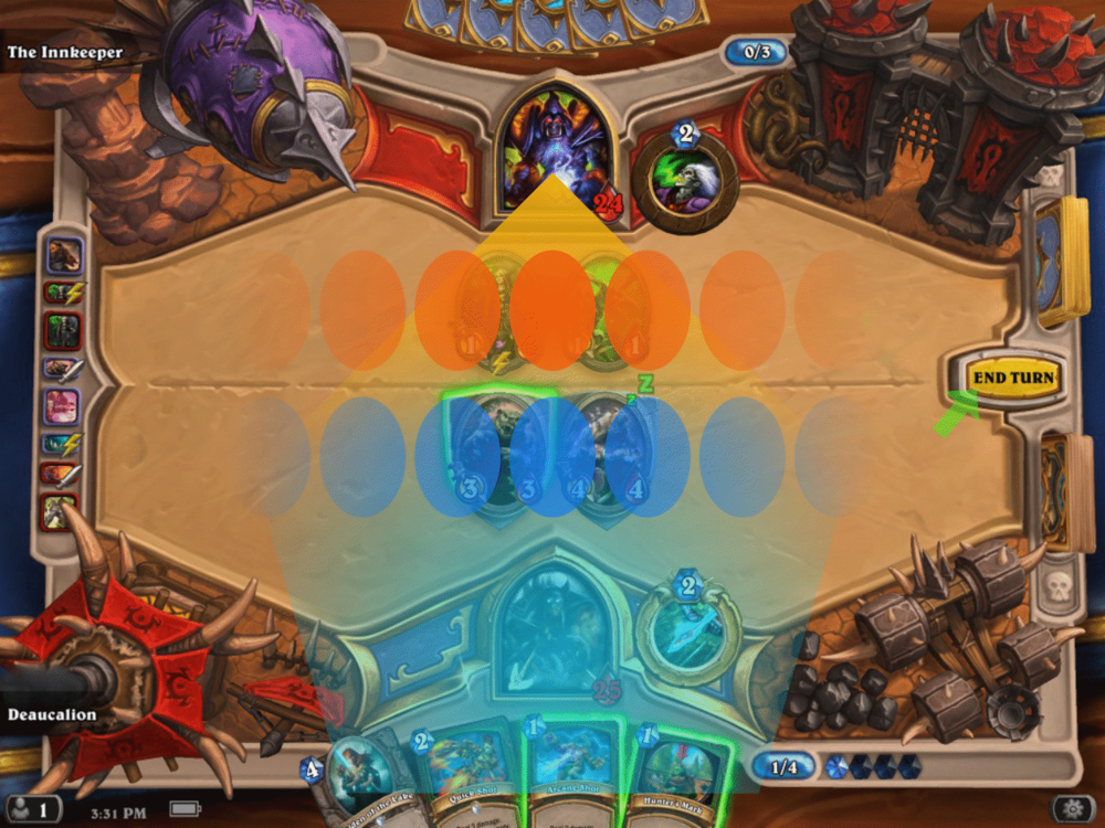 Built with tablets in mind, Hearthstone makes input comfortable with just an index finger by confining the touch area to a vertical column.