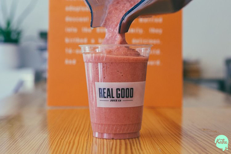 A picture we took of the amazing fresh juices from  Real Good Juice Co.