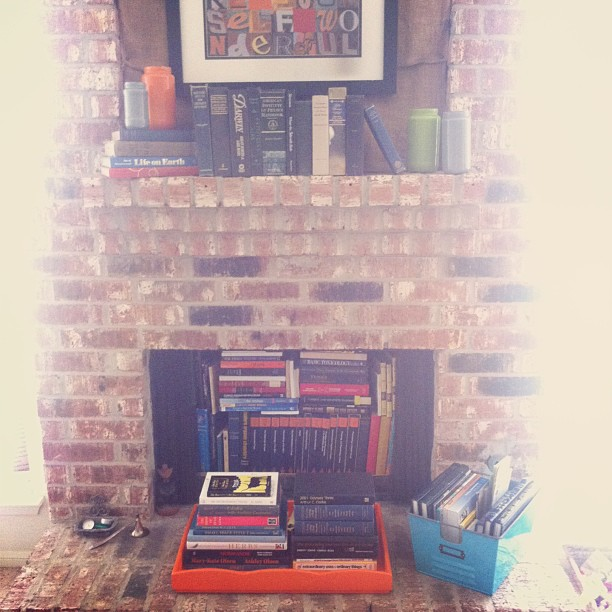 fireplace book storage