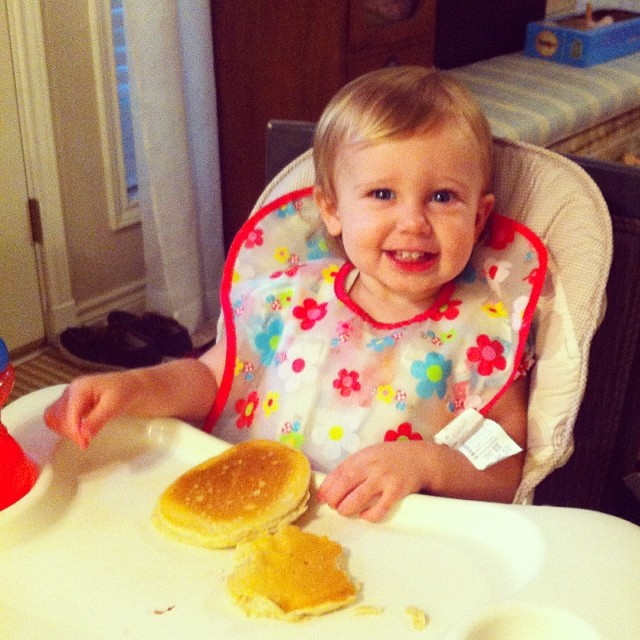 chloe first pancakes
