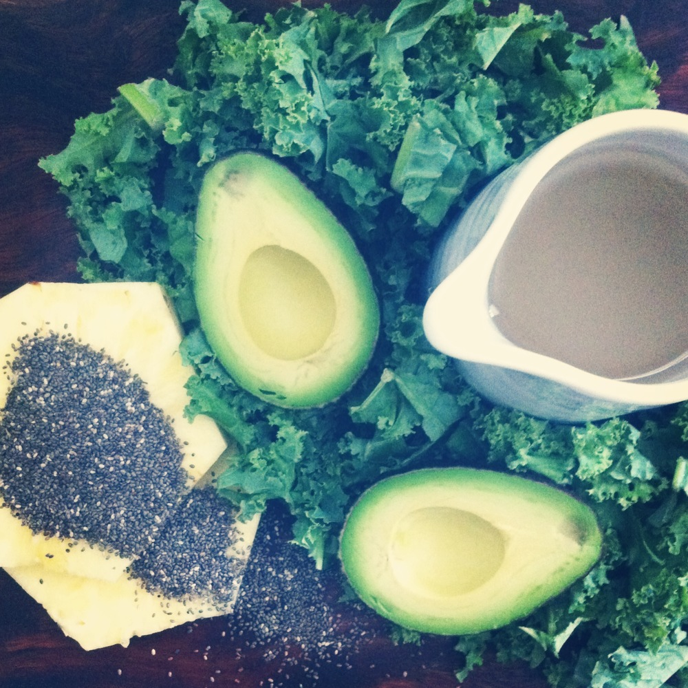 kale-pineapple-avocado smoothie