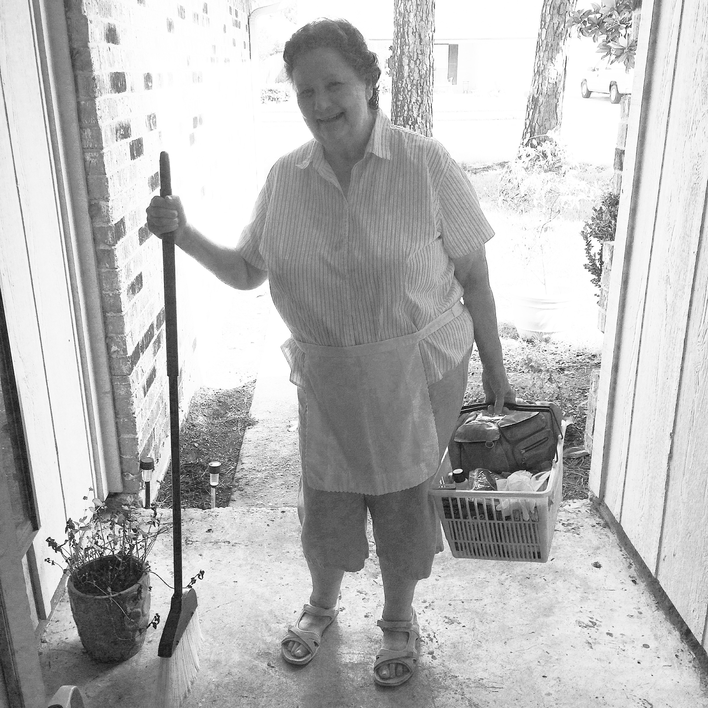 Mema is ready to clean
