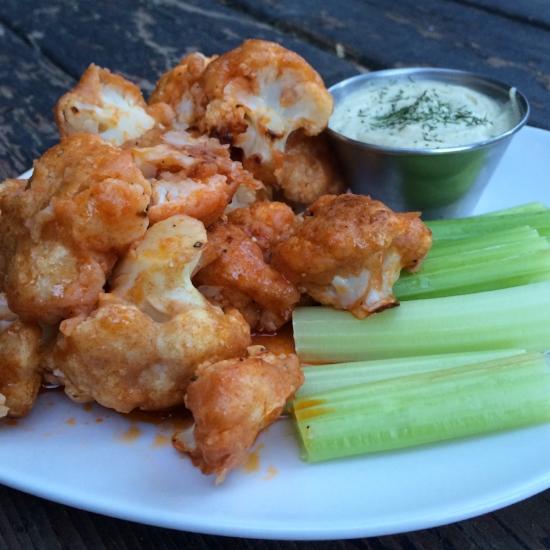 cauli wings and vegan ranch