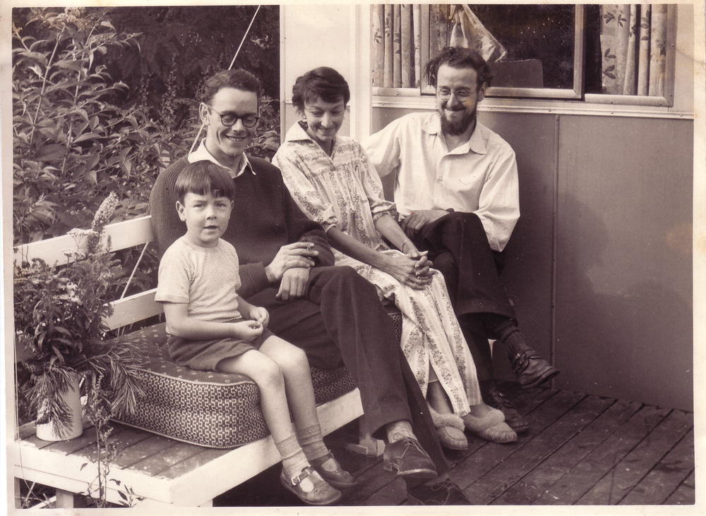 Caravan Modulor, Reading - 1956.   Christopher, Harry, Margaret, John