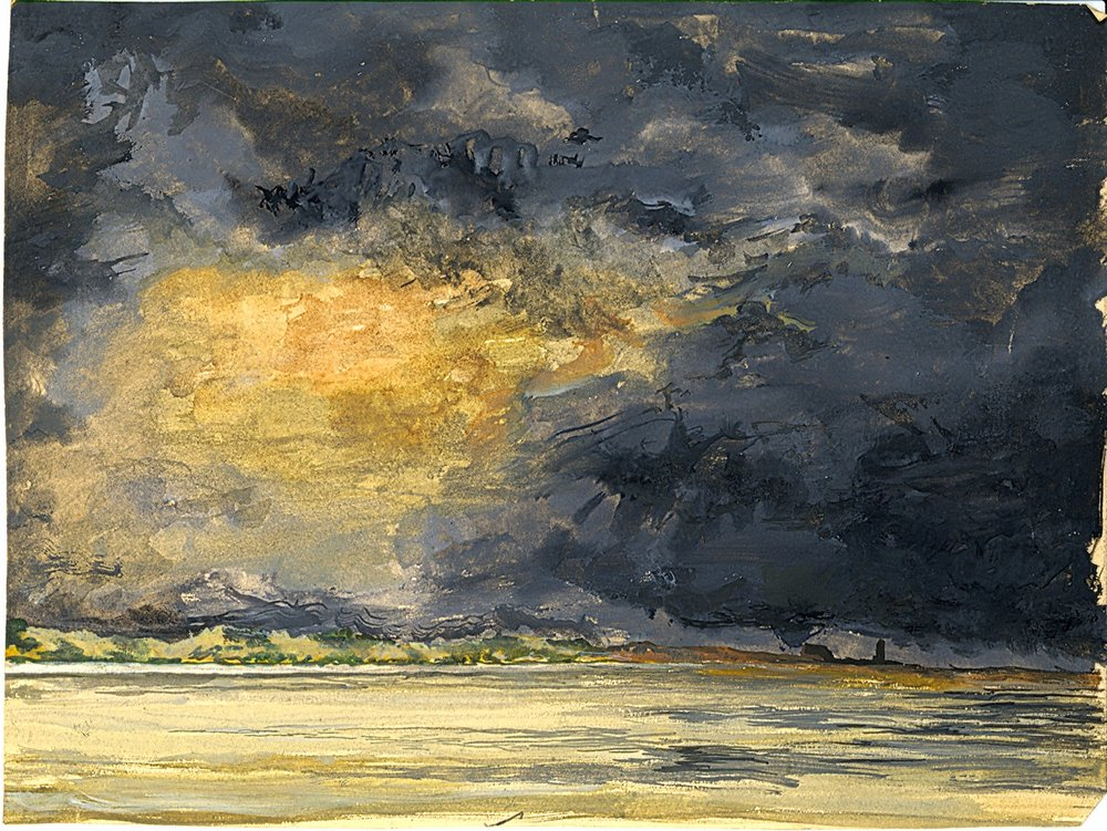 "ThunderStorm building up over Leasowe Shore & Lighthouse (Wirral) 1948,  when Harry and John had come ashore and beached the ""Snark"" in a dead calm and were hoping not to be struck by lightning ! Painting by Harry."