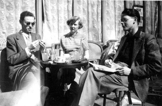 Harry 1950 Dans les boulevards à Paris, Harry à droite, avec des amis d'Ecole d'Art de Liverpool