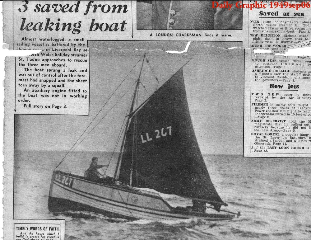 Gypsy Meg Rescue in Irish Sea:  Daily Graphic Front Page. Harry on Halyards, John at Tiller, Dave below.