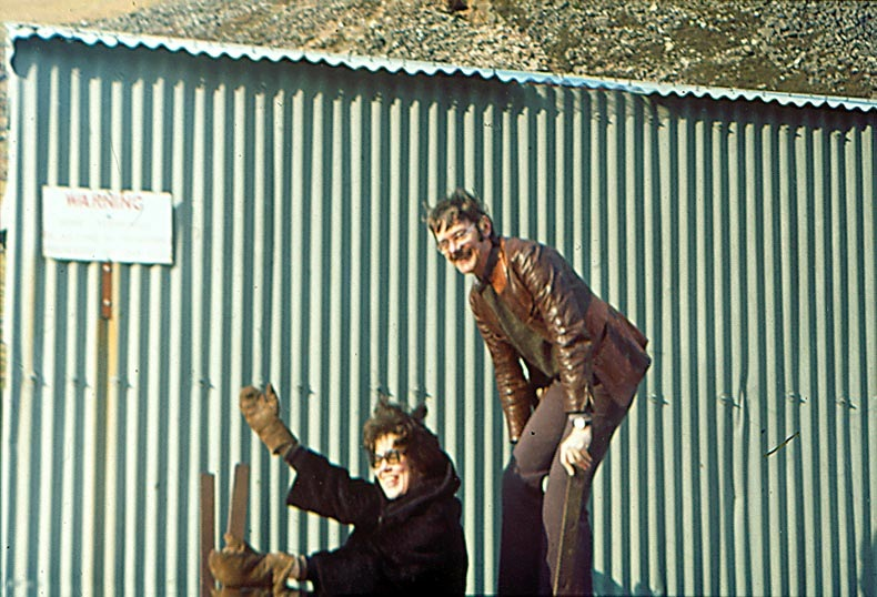 Christine & Harry riding the self-propelled rail-trolley outside the old Uranium Mine, Mungrisdale, Cumbria, 1970