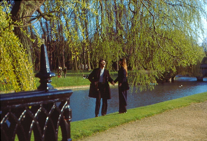 Harry & Chantal on the Cambridge Backs, between King's & Clare College bridges, in February 1971