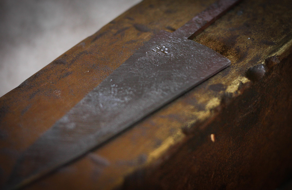 A small blade right before going in the forge for heat treating.
