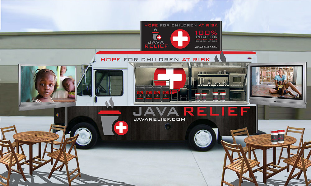 2.  Help Fund our awareness vehicle - Taking it to the street! We are looking for generous people like you to partner with us to build our first Java Relief Mobile Awareness Truck. This is a vital component to Java Relief!  The truck will be used to show the desperate needs of children around the world. We will sell coffee and other merchandise from the truck, with 100% of those profits going to children in need. Your donations for the truck will be 100% tax-deductible through our partner company,