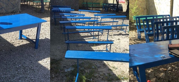 It's Table-rrific! - Thanks to just one generous coffee drinker, 50 tables were built and painted for the Luken Foundation school/homework area in Cite Soliel! There are 75 children now going to school from this slum. These tables are so great for these kiddos!