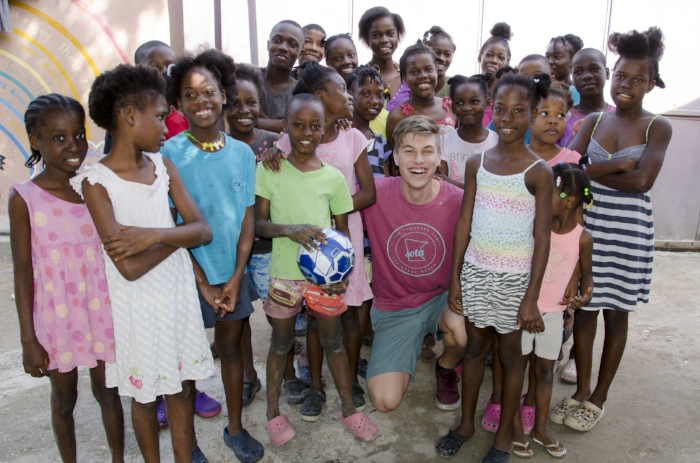 Shale Siewert and the children from the Faith in Action Orphanage