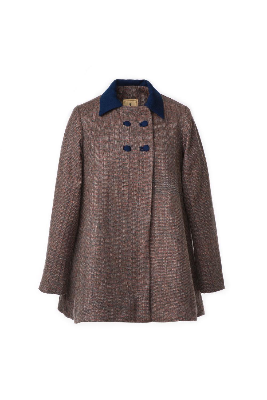Cadet Gray Tweed Swing Coat — AbyAnubha
