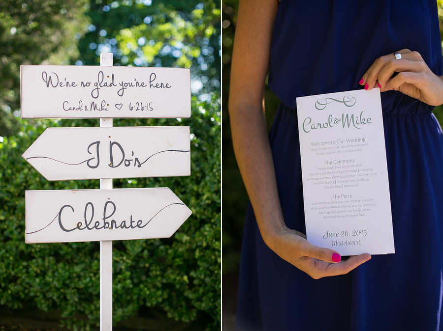 Misslewood Estate Wedding Sign and Programs