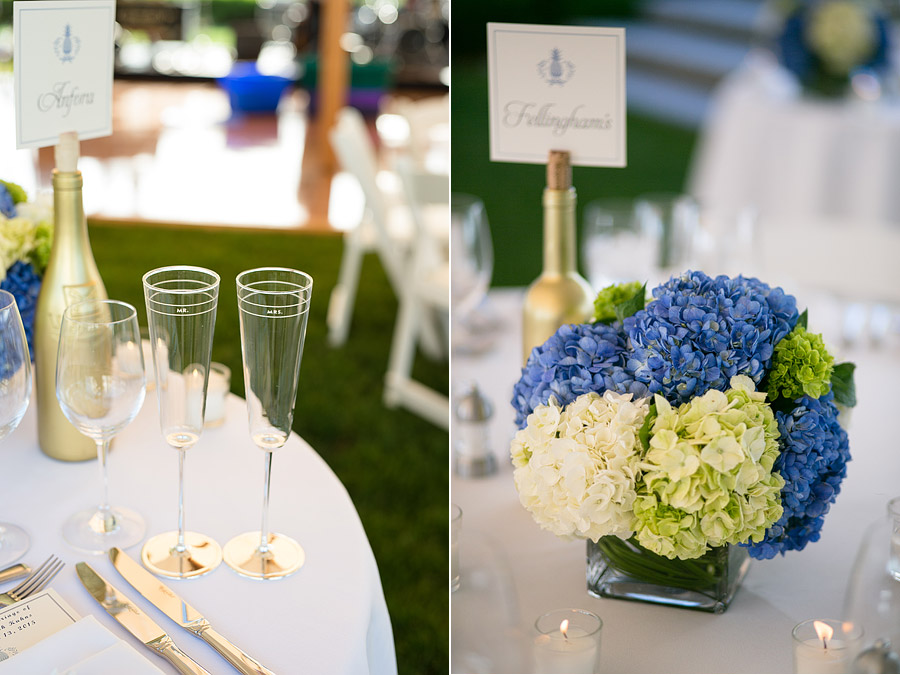 Blue center piece at Shelter Harbor Golf Club Wedding