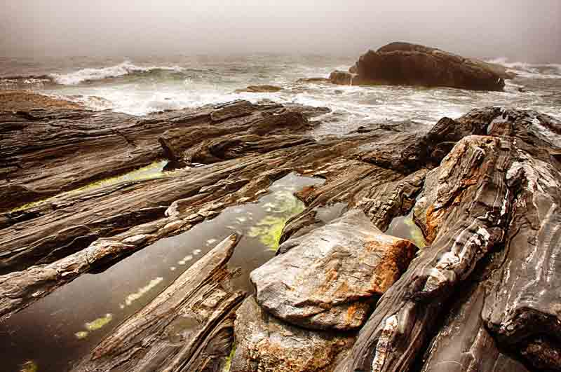 Pemaquid Point - Dramatic Rocks in Fog