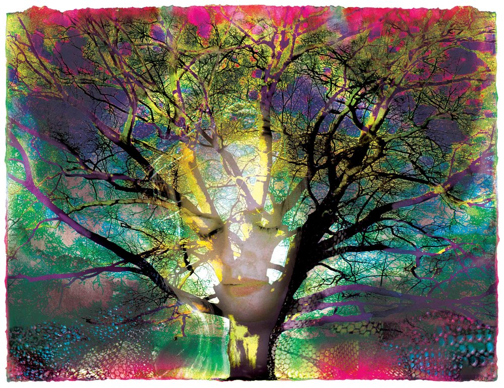 """TREE GODDESS               photo-painting                                        Carol K. Walsh"