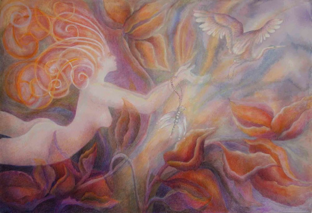 """Flight of the Goddess""                                                            mixed media                                                                          Carol K. Walsh"