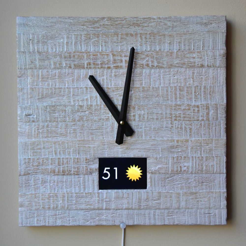 IoT Smart Clock Rustic White