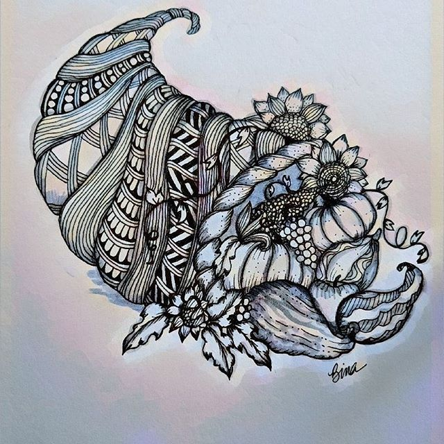 Cornucopia Zen.. #thanksgiving #cornucopia #zentangle #lovezen #zendoodle  #zenart #artgallery #artstagram #inkartist #ink #freehand #sketch #instartpics #instagram #zentanglekiwi  #zen #drawing #colors #zendala #artistoninstagram