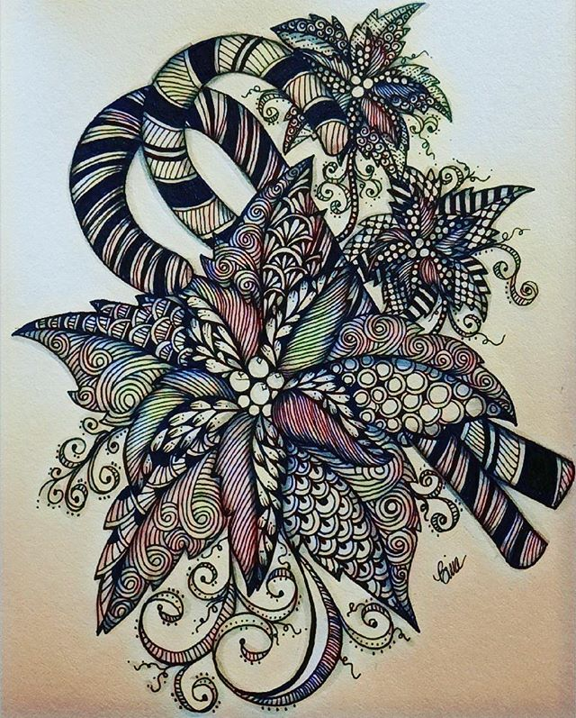 Tis the season to be merry... #candycane #pointsettia #zentangle #lovezen #zendoodle  #zenart #artgallery #artstagram #inkartist #ink #freehand #sketch #instartpics #instagram #mandala #zentanglekiwi  #mandalauniverse #mandalala #zen #drawing #colors #zendala #artistoninstagram #christmastime