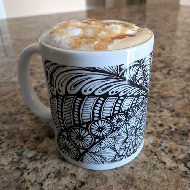 What's better than a salted caramel latte in a my Zen mug? 😁 #coffeecup #coffee #latteart #zentangle #Zentangled  #doodle #doodles #zen #artistsoninstagram #zentanglekiwi #lovetodraw #lovecoffee